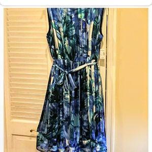 Carmen Marc Valvo size 16W blue /green dress
